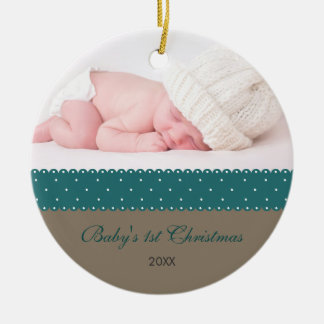 Baby's 1st Christmas - Ribbon (grey) Ceramic Ornament