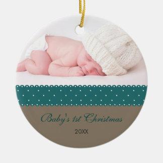 Baby's 1st Christmas - Ribbon (grey) Christmas Ornaments