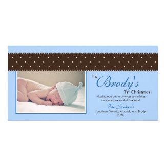 Baby's 1st Christmas Ribbon Photocard (blue) Customized Photo Card