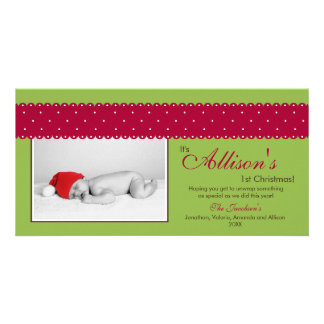 Baby's 1st Christmas Ribbon Photocard (green) Custom Photo Card