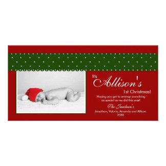 Baby's 1st Christmas Ribbon Photocard (red) Picture Card