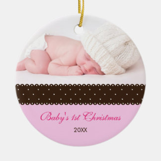 Baby's 1st Christmas - Ribbon (pink) Ceramic Ornament