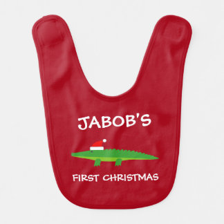 Baby's 1st Christmas Santa crocodile personalized Baby Bib