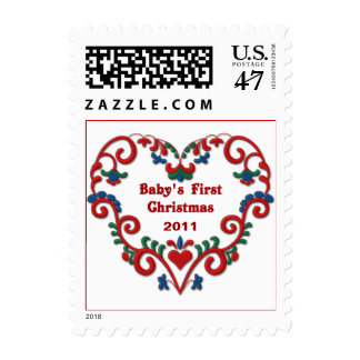 Babys 1st Christmas Scandinavian Heart Custom Date Postage