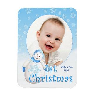 Baby's 1st Christmas Snowman Custom Rectangular Photo Magnet