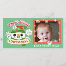 Baby's 1st Christmas Snowman Photo Card