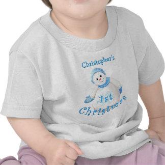 Baby's 1st Christmas Snowman Shirt T Shirts