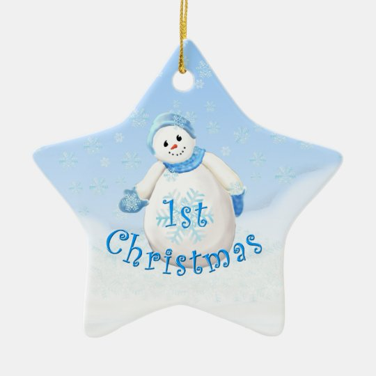 Baby's 1st Christmas Snowman Star Ornament