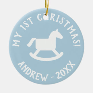Baby's 1st Christmas tree rocking horse ornament