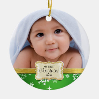 Baby's 1st Christmas. White and Green Snowflakes Ceramic Ornament