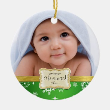 Toddler & Baby themed Baby's 1st Christmas. White and Green Snowflakes Ceramic Ornament
