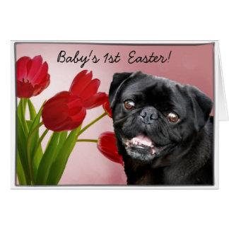 Baby's 1st Easter Black pug dog card