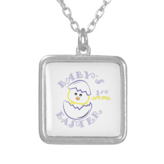Babys 1st Easter Square Pendant Necklace