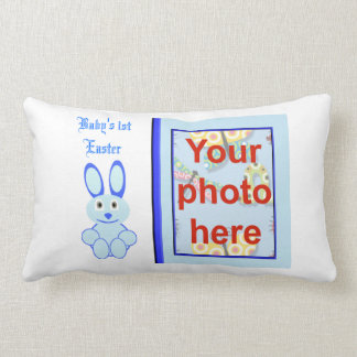 Baby's 1st Easter with bunny add name  add photo Lumbar Pillow