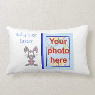 Baby's 1st Easter with rabbit add name add photo Lumbar Pillow