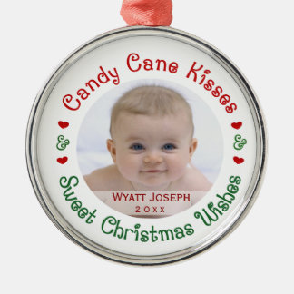 Baby's 1st First Christmas Holiday Photo Gift Metal Ornament