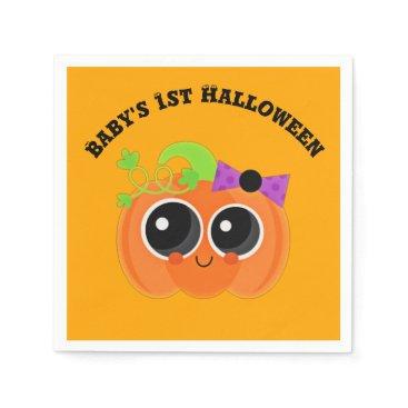 Halloween Themed Babys 1st Halloween Little Pumpkin Napkin