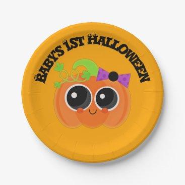 Halloween Themed Babys 1st Halloween Little Pumpkin Paper Plate