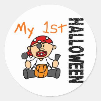 Baby's 1st Halloween Pirate BOY Round Stickers