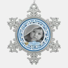 Baby's 1st Hanukkah Photo Name Dreidels Snowflake Pewter Christmas Ornament at Zazzle