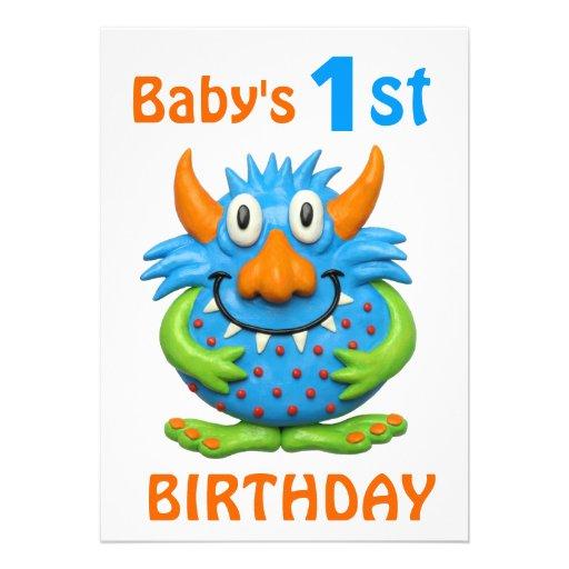 Baby's 1st Monster Birthday Party Invite