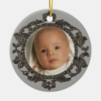 Babys 1st Photo Double-Sided Ceramic Round Christmas Ornament