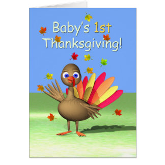 Baby's 1st Thanksgiving - Baby Turkey Greeting Card