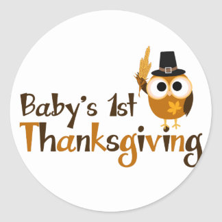 Baby's 1st Thanksgiving Classic Round Sticker