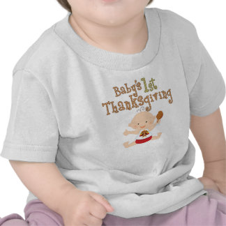 Baby's 1st Thanksgiving Cute Baby with Turkey Bib Tee Shirt