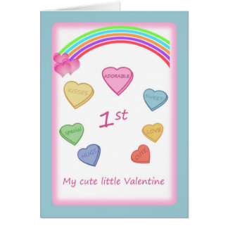 Baby's 1st Valentine - Love hearts and rainbow Greeting Card