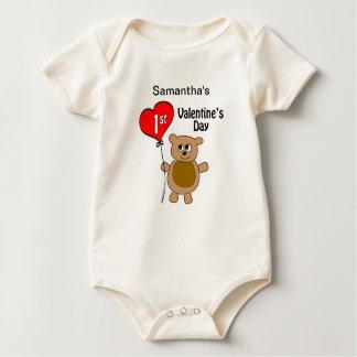 Babys 1st Valentine's Day Bear Theme Baby Bodysuit