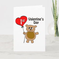 Babys 1st Valentines Day Bear Theme Greeting Cards