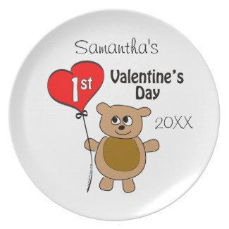 Babys 1st Valentine's Day Bear Theme Plates