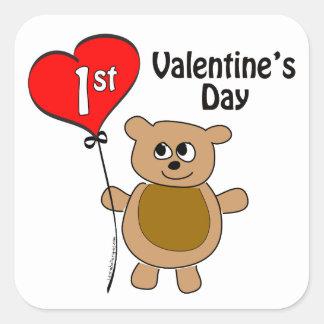 Babys 1st Valentine's Day Bear Theme Square Sticker