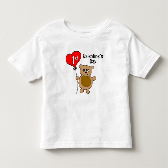 Babys 1st Valentine's Day Bear Theme Toddler T-shirt