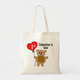 Babys 1st Valentine's Day Bear Theme Tote Bag
