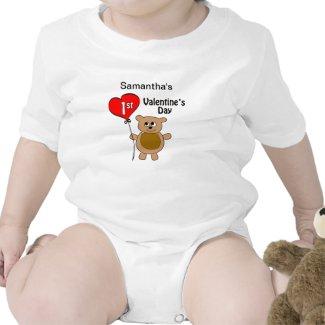 Babys 1st Valentine's Day Bear Theme Tshirts