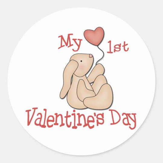 Baby's 1st Valentine's Day Classic Round Sticker