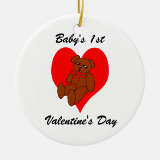 Baby's 1st Valentine's Orrnament Teddy Bear Heart Ceramic Ornament