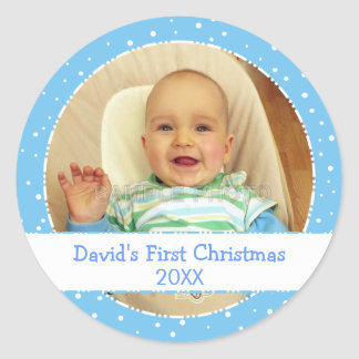 Baby's 1st Xmas Personalized Photo Circle Stickers