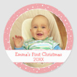 Baby's 1st Xmas Personalized Photo Pink Stickers