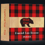 """Baby&#39;s 1st Year Lumberjack Plaid Photo Album Binder<br><div class=""""desc"""">Trendy, rustic buffalo check plaid Baby&#39;s 1st Year photo album- Rustic, lumberjack theme. Reads &#39;Wild One&#39; in rustic, stamped look red letters overlaid on a black bear shadow. Personalized name and birth date at bottom in handwritten look letters. Centered is a strip of rustic, old paper or brown Kraft paper...</div>"""