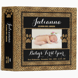 Baby's 1st Year | Photo Scrapbook | Cheetah Print Binder
