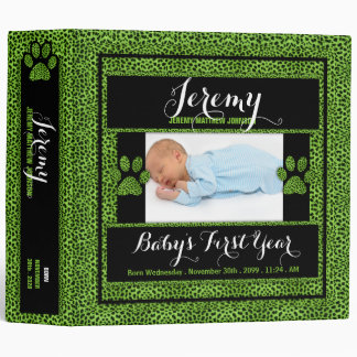 Baby's 1st Year | Photo Scrapbook | Green Cheetah 3 Ring Binder
