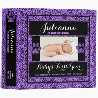 Baby's 1st Year | Photo Scrapbook | Purple Cheetah Binder