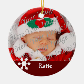 Baby's 2nd Christmas Red Snowflake Ornament