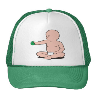 BABY'S ARM HOLDING APPLE TRUCKER HAT