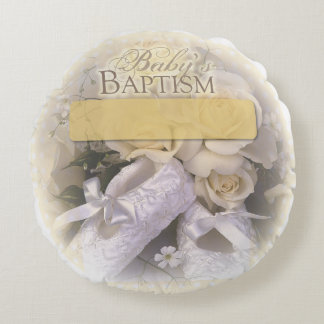 Baby's Baptism Neutral, Custom, Personalize, Ameli Round Pillow