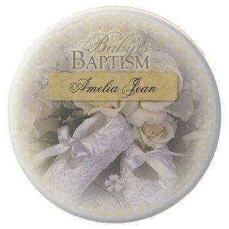 Baby's Baptism Neutral , Customizable Name, Amelia Chocolate Dipped Oreo