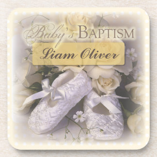 Baby's Baptism Neutral, Customizable Name, Liam Beverage Coaster